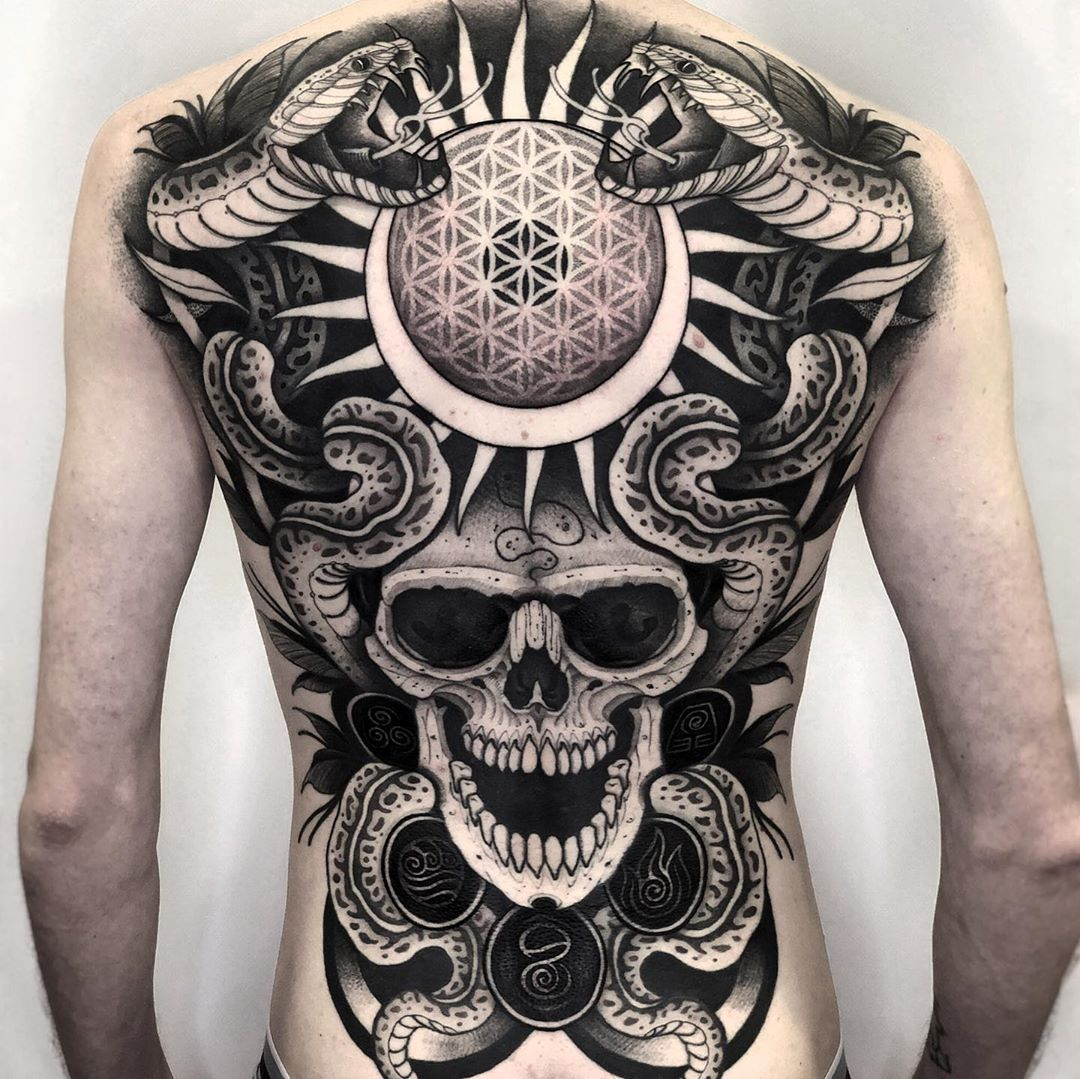 ️️️ Back piece I did at @ ️ Swipe to see more views. Moltes…